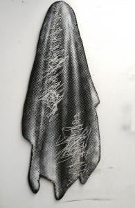 Censura I, 2017, Acryl, Lack und Leichtschaumplatte auf Stoff auf Holz, 180x70x3 cm